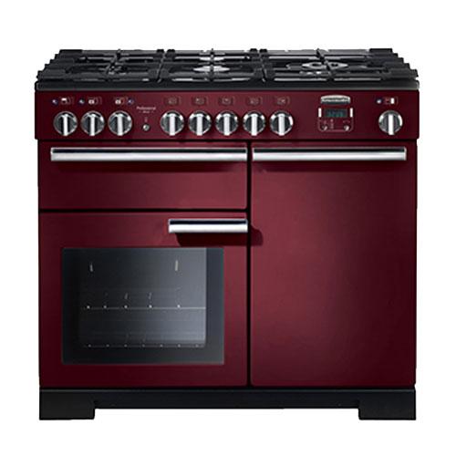 Rangemaster Professional Deluxe 100 Dual Fuel Range Cooker in Cranberry