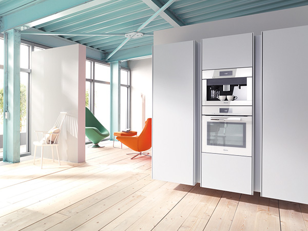 Miele H6860BP M Touch oven and CVA6805 coffee machine brilliant white lifestyle med res