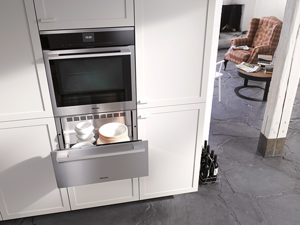 miele H6560BP contourline single oven and warming drawer lifestyle med res