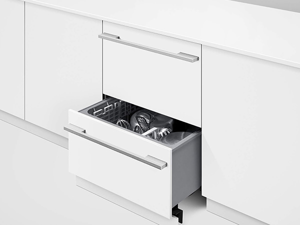 Fisher & Paykel Double Dishwasher Drawers open drawer