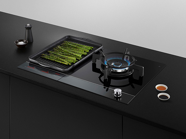 Fisher & Paykel Gas on glass hob with vegetables